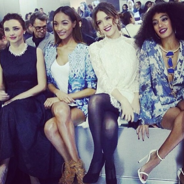Jourdan Dunn, Miranda Kerr, Jessica Alba and Solange Knowles attend the H&M autumn/winter 2014 show at Paris Fashion Week - 26 February 2014