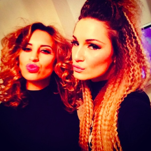 Sam Faiers crimps hair for Beyonce gig and poses with BFF Ferne McCann, 28 February 2014