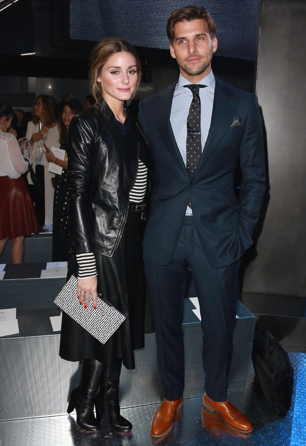 Olivia Palermo and Johannes Huebl attend the H&M autumn/winter 2014 show at Paris Fashion Week - 26 February 2014