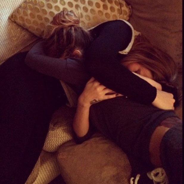 Cheryl Cole hugs Kimberley Walsh on the day Kimberley revealed she is pregnant, 24 February 2014