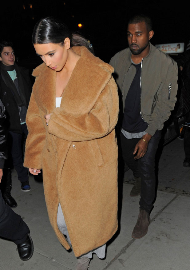 Kim Kardashian and Kanye West out and about, New York, America - 25 Feb 2014