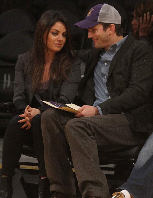 Mila Kunis and Ashton Kutcher at Lakers game, Friday January 3, 2014