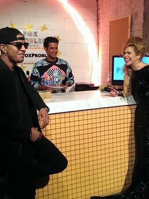 Celebrity Big Brother star Ollie Locke filming with Paloma Faith and N-Dubz star Richard Rawson aka Fazer on The Fox Problem (4 March 2014).