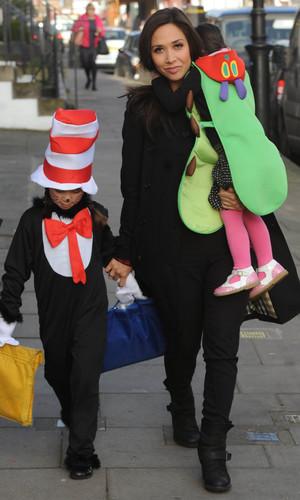 Myleene Klass walking her daughters to school on World Book Day - 6 March 2014