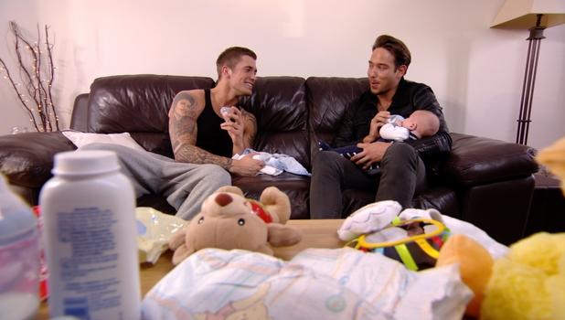 James Lock holds Dan Osborne's son Teddy in TOWIE, 9 March 2014