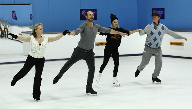 Karen Barber, Jason Gardiner, Ashley Roberts and Robin Cousins hold hands during rehearsals ahead of the last ever Dancing on Ice, 9 March 2014