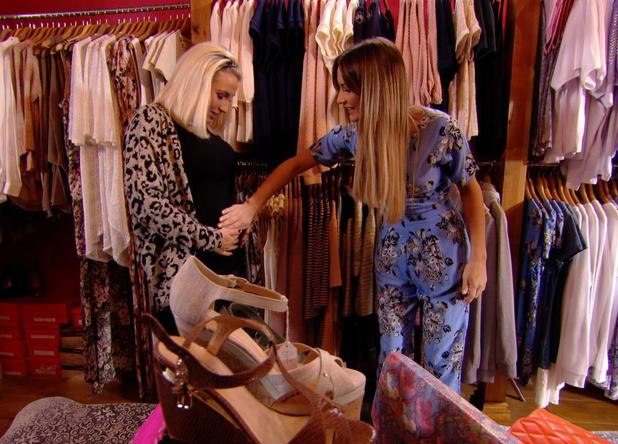 TOWIE: Sam pats pregnant sister Billie's baby bump. Episode aired: (5 March 2014).