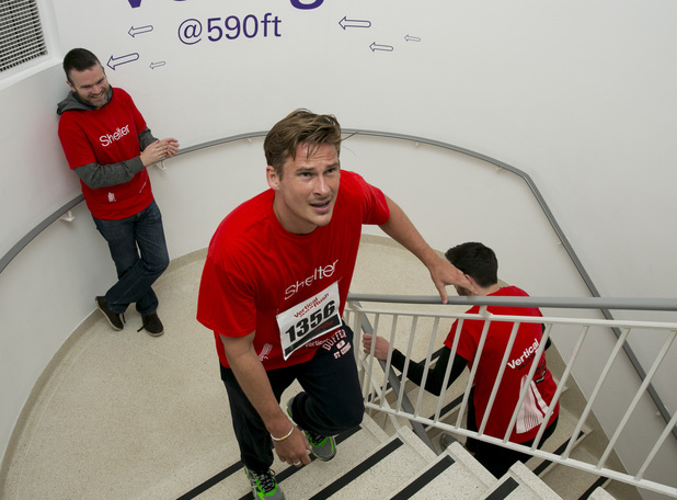 Tower 42 Vertical Rush Challenge in aid of housing charity Shelter, London, Britain - 04 Mar 2014 Duncan James and Lee Ryan