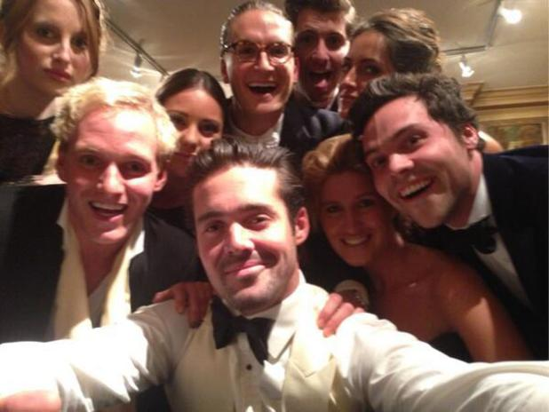 Made In Chelsea cast pose for a selife: Spencer Matthews, Jamie Laing, Oliver Proudlock, Rosie Fortescue, Louise Thompson, Stevie Johnson, Andy Jordan, Fran Newman Young, (5 March 2014).