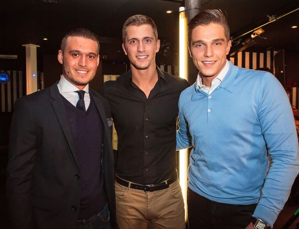 Charlie Sims, Dan Osborne and Lewis Bloor film scenes for The Only Way Is Essex. (2 March 2014)