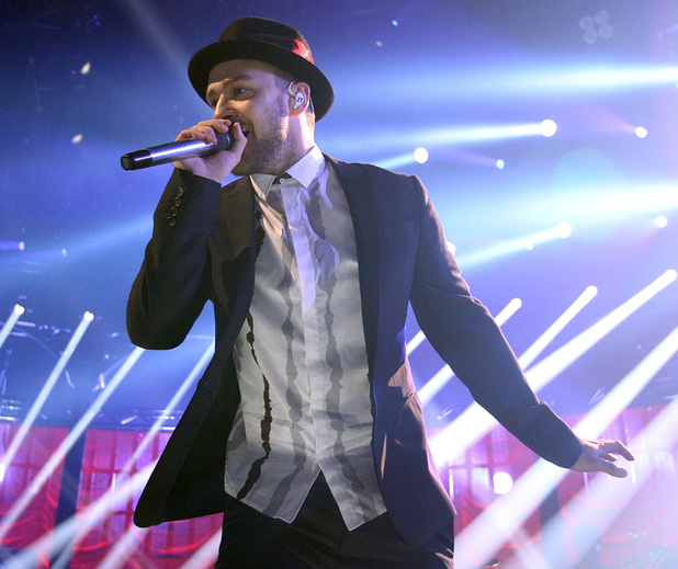 Justin Timberlake performing on stage during the iTunes Festival held at the Roundhouse in Camden. 09/29/2013
