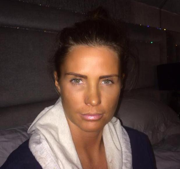 Katie Price shows off her even new fake tan in racy Twitter snap and selfie - 2.3.2014