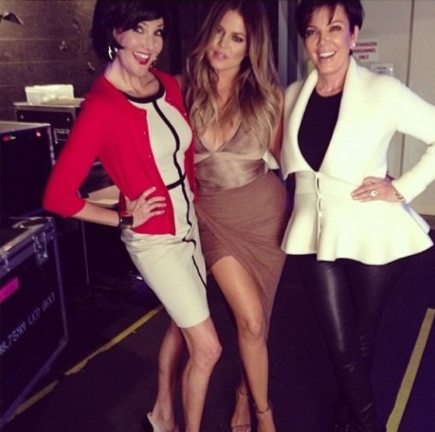 Khloe Kardashian wears glam brown outfit to guest host Chelsea Lately - 5.3.2013 with Kris Jenner