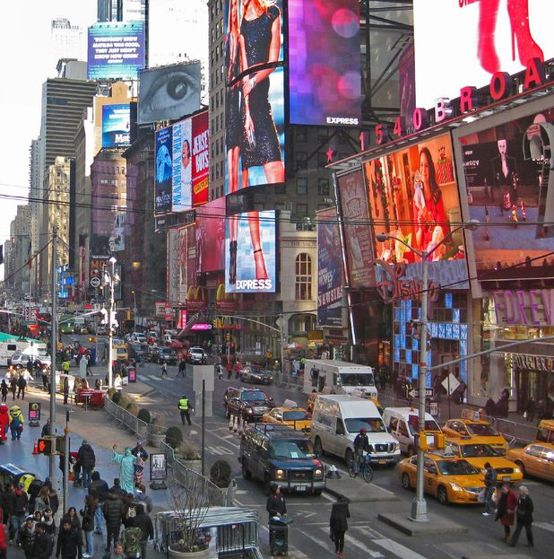 Broadway and Times Square in Manhattan, New York City, America 2014