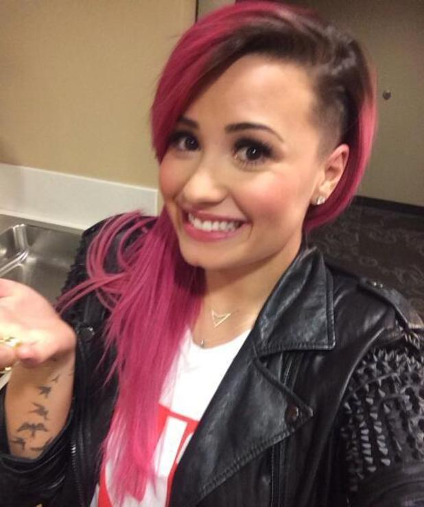 Demi Lovato shaves off part of head (4 March 2014).