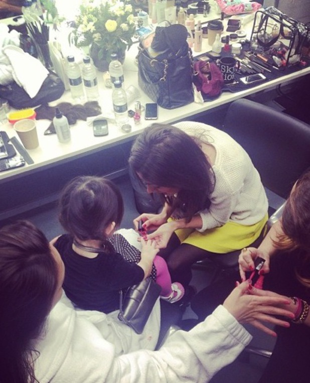 Myleene Klass gets a manicure with her daughter - 6 March 2014