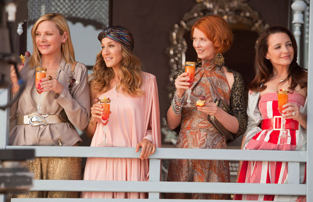 Kristin Davis, Sarah Jessica Parker, Kim Cattrall and Cynthia Nixon in a scene from Sex and the City 2, released 2010