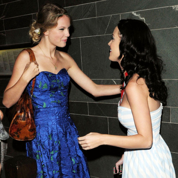 Taylor Swift and Katy Perry leaving Hakkasan restaurant after having dinner together. London, England - 23.08.09