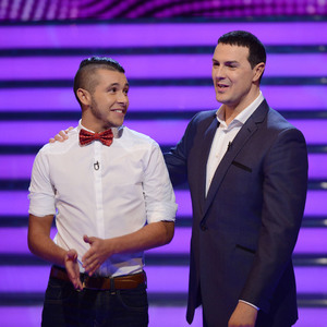 Take Me Out's Paddy McGuinness and contestant Aran. Aired: Saturday 8th February 2014, episode 6.