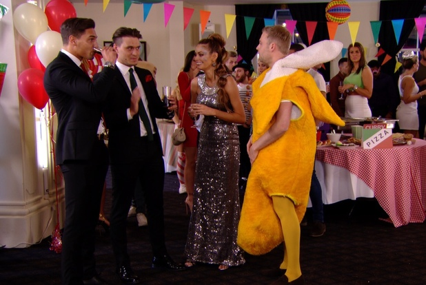TOWIE: Charlie and Chloe Sims talk to Mario Falcone and Frank Major at Arg's party. Aired: 13 March 2014.