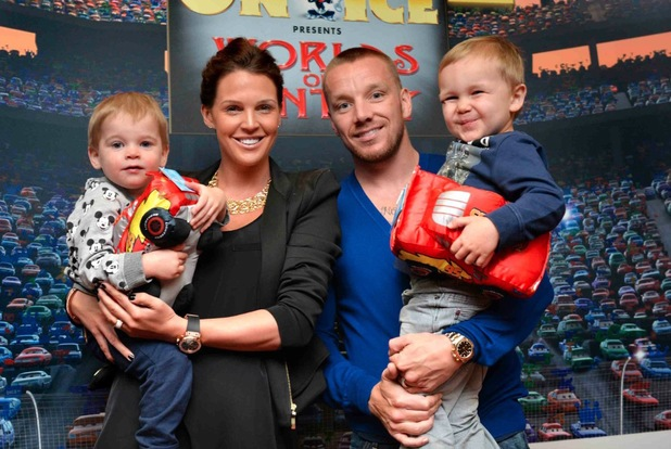 Danielle Lloyd, Jamie O'Hara and their sons Harry and Archie watch Disney On Ice presents Worlds of Fantasy in Birmingham, London - 13 March 2014