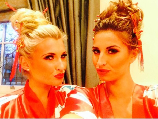 Billie Faiers and Ferne McCann from TOWIE wear Japanese kimonos and hair sticks - 10 March 2014