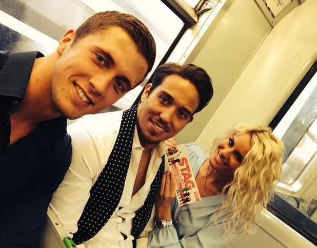 James Lock, Dan Osborne and Danielle Armstrong en-route to The Stag premiere in London (13 March).