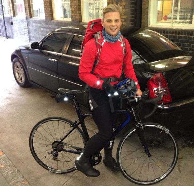 Jeff Brazier on a bicycle ahead of his Sport Relief challenge (14 March 2014).