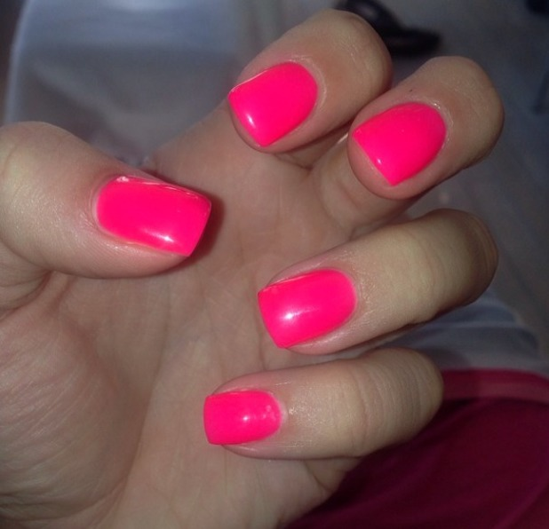 Ferne McCann shows off her neon pink summery nails, 13 March 2014