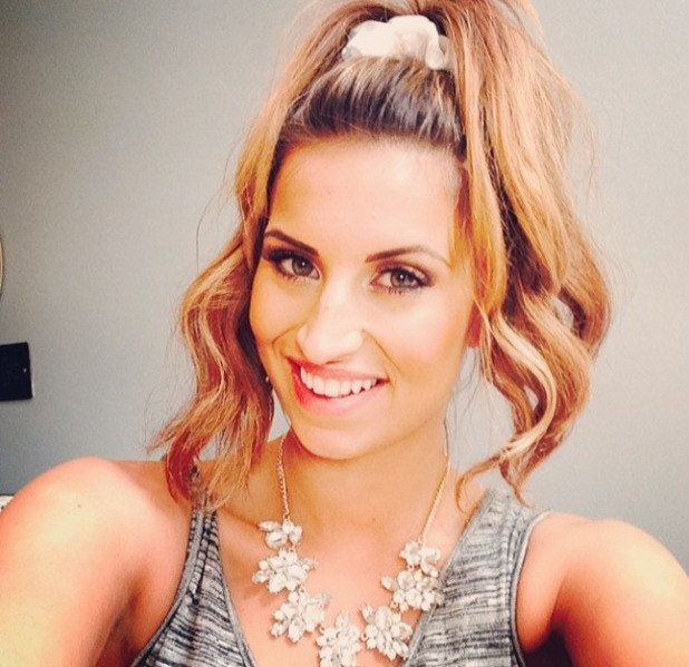 Ferne Mccann with hair in piled-high ponytail and scrunch, 10 March 2014