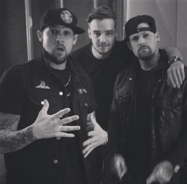 Benji and Joel Madden with Liam Payne recording - 8.3.2014