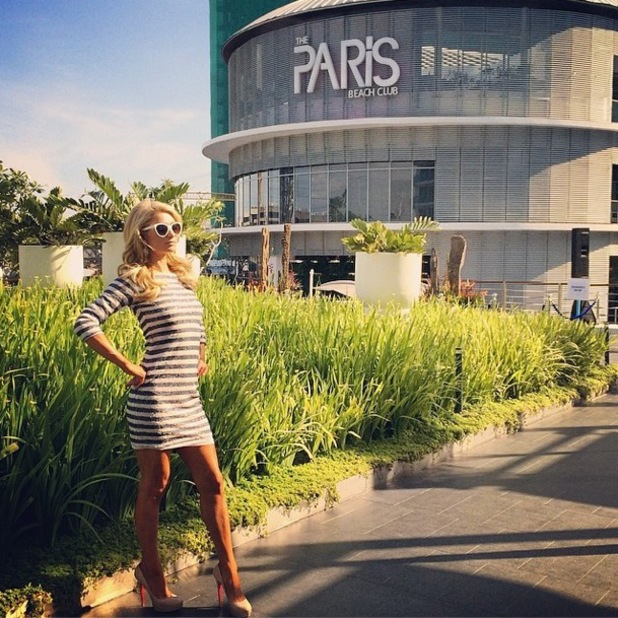 Paris Hilton poses outside The Paris Beach Club in the Philippines - 13 March 2014