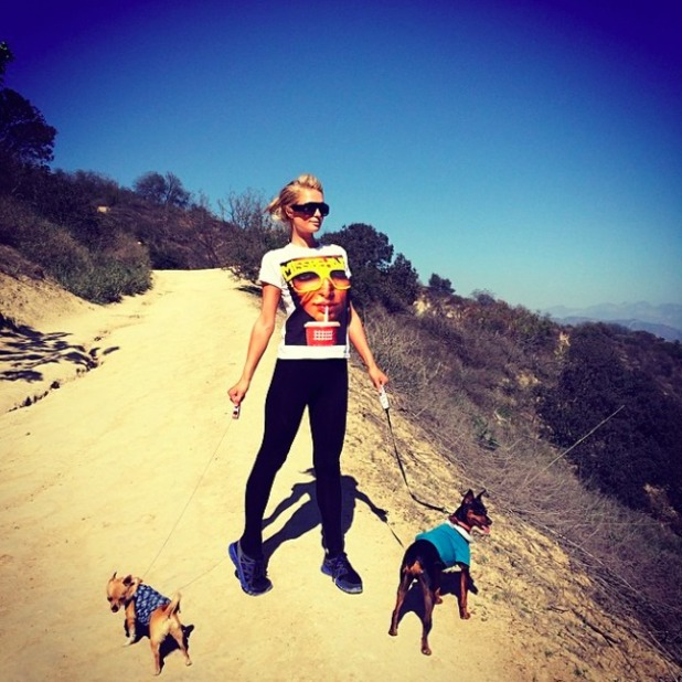 Paris Hilton enjoys the wilderness in LA with her two dogs, 15 March 2014