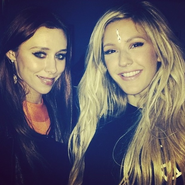 Ellie Goulding poses with The Saturdays singer Una Foden at her concert (9 March 2014).