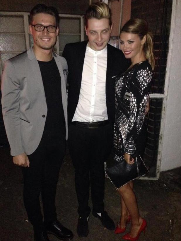 Chloe Sims and Charlie Sims meet John Newman at the Titanfall UK Launch Party at the Boiler House in the Old Truman Brewery. London (13 March).