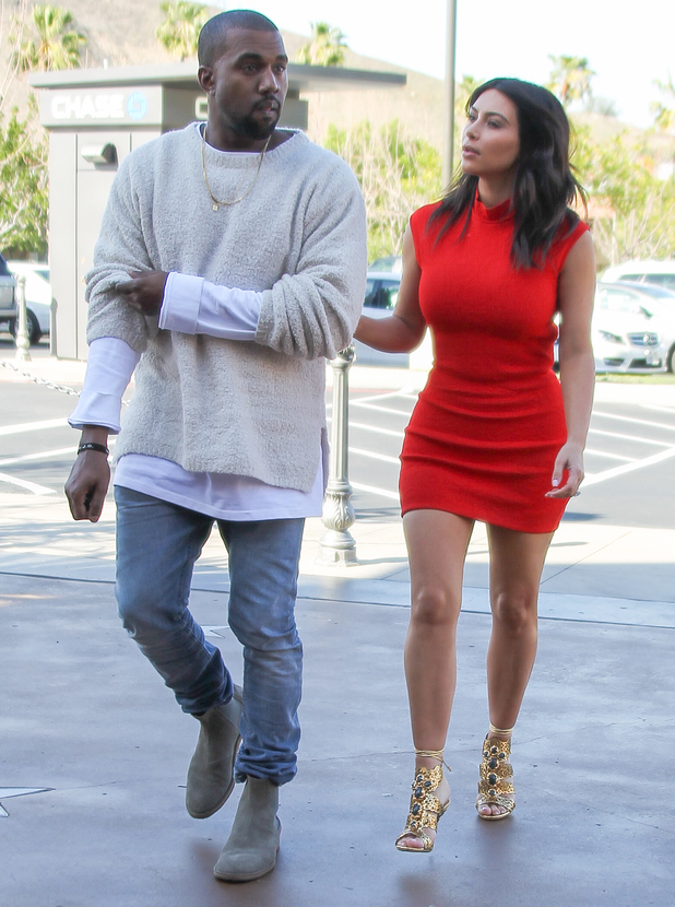Kanye West takes fiancee Kim Kardashian to see the new movie 'Need For Speed' in Calabasas, 14 March 2014