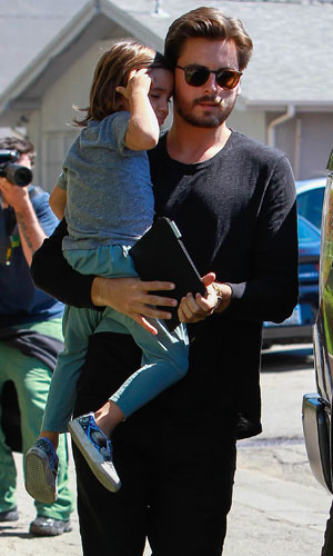 Scott Disick and Khloe Kardashian with Mason, shooting scenes for 'Keeping Up With The Kardashians' head for lunch with Bruce Jenner in Studio City, 10 March 2014
