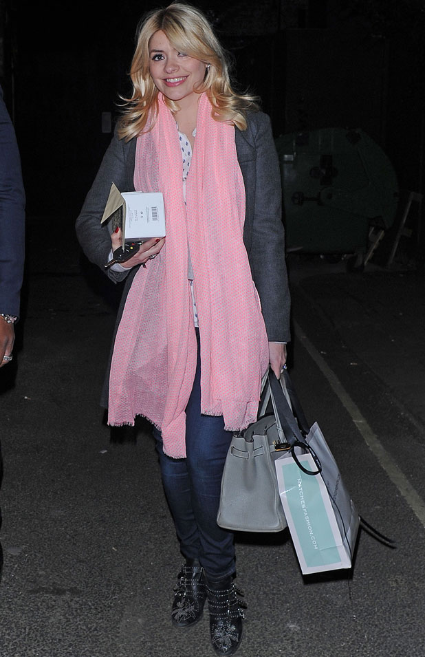 Holly Willoughby pictured leaving riverside studios in London after filming Celebrity Juice, 12 March 2014