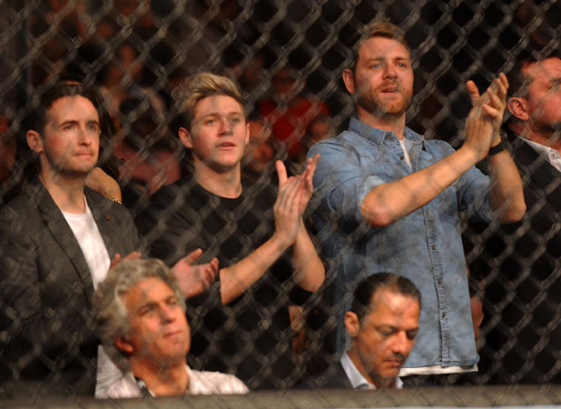 Niall Horan and Brian McFadden with Guy Ritchie, UFC Fight Night London: Gustafsson vs Manuwa held at The O2 - Celebrity Sightings, 7 March 2014