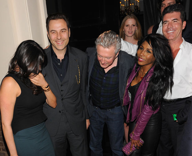 Simon Cowell celebrates Cheryl Cole's X Factor return at Arts Club with Lauren Silverman, Louis Walsh, Sinitta, David Walliams and Lara Stone, London, 11 March 2014