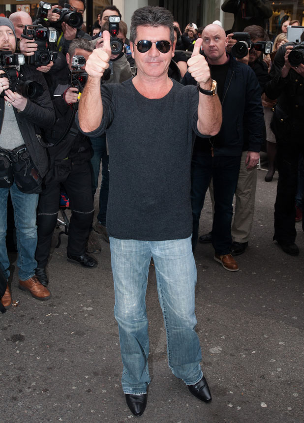Simon Cowell joins Cheryl Cole as she announces her return to X Factor at the Arts Club, 11 March 2014