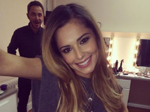 Cheryl Cole gets photobombed while working on a sketch for Sport Relief, 18 March 2014