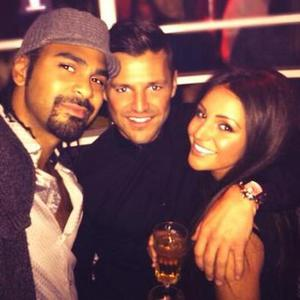Boxer David Haye posts selfie with Michelle Wright and Mark Wright, 22 March 2014