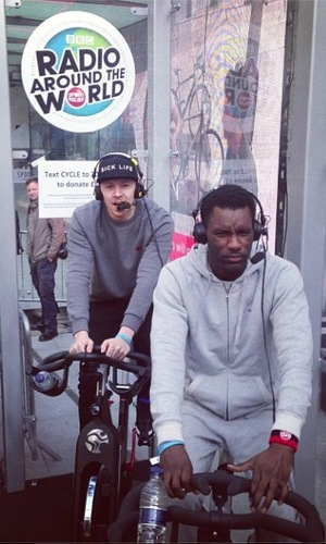 Professor Green and Wretch 32 supports Nick Grimshaw during Sport Relief cycle. London, Britain - 17 Mar 2014