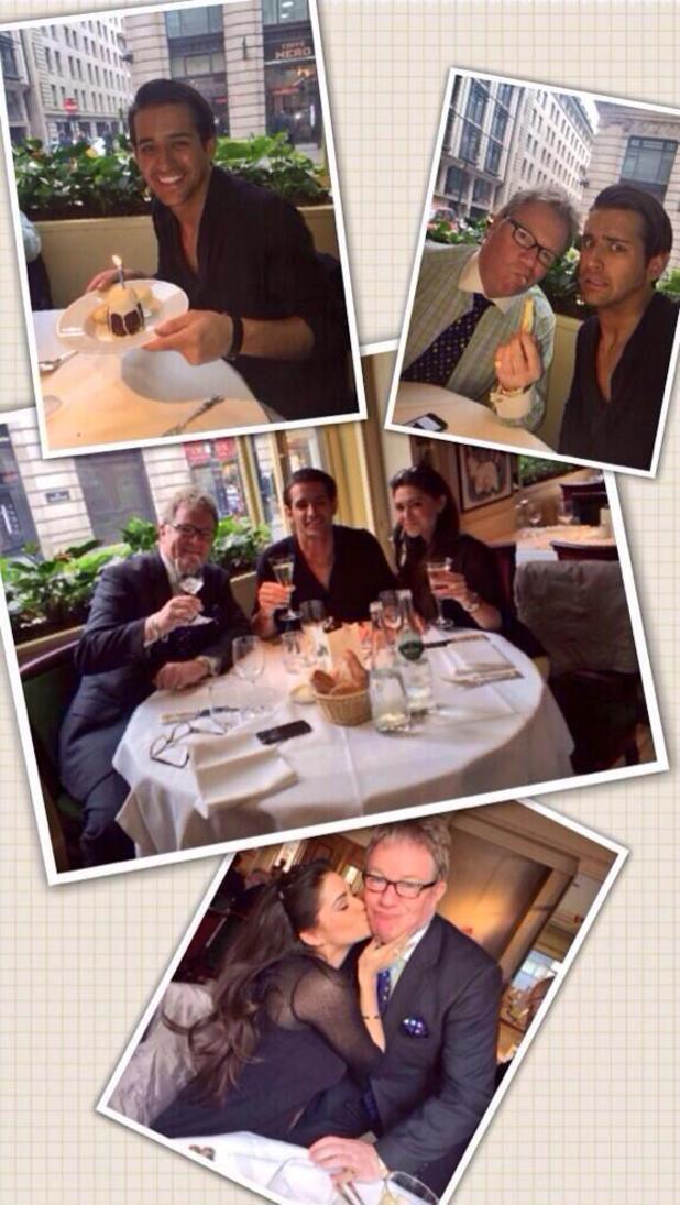 Celebrity Big Brother's Ollie Locke enjoys birthday dinner with Jim Davidson and Casey Batchelor. (20 March).
