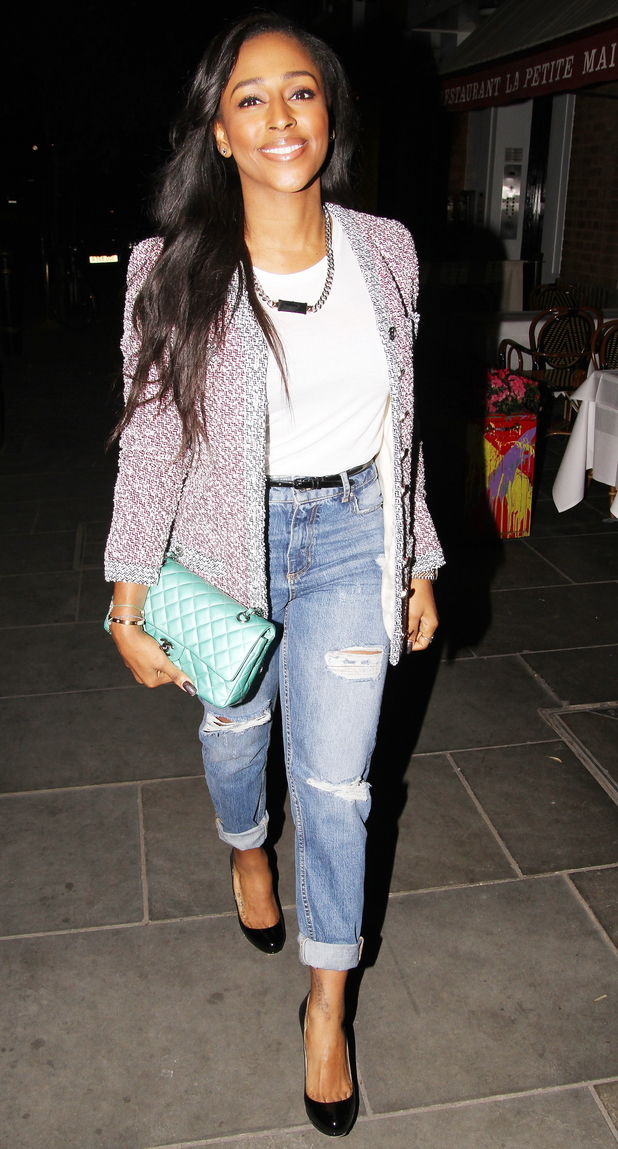 Alexandra Burke steps out at La Petite Maison in Mayfair, London - 15 March 2014