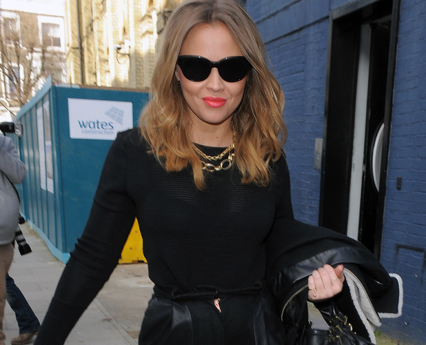 Kimberley Walsh leaving studio after recording Sport Relief single, London, 03/05/14
