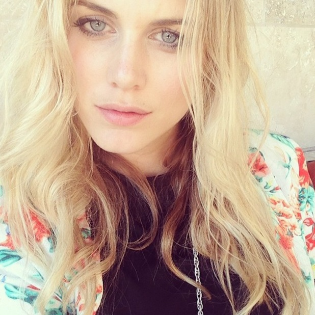 Former Made In Chelsea star Ashley James shows off beach babe waves in an Instagram selfie - 17 March 2014