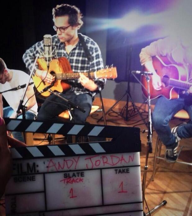 Made In Chelsea's Andy Jordan being filmed while recording music session (8 November 2013).