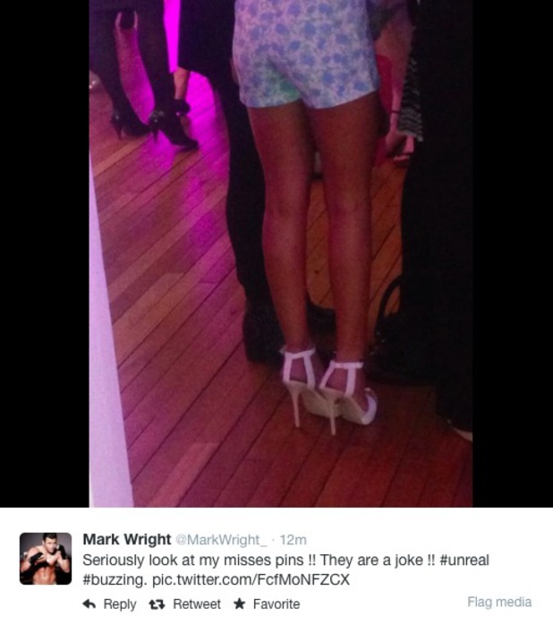 Mark Wright posts a photo of Michelle Keegan's legs 18/03/14